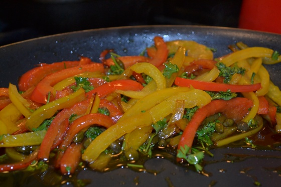 Combine peppers, olive oil, balsamic, capers and parsley